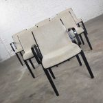 Vintage Mid-Century Modern Knoll 1300 Series Dining Chairs by Bill Stephens Set 6 Black