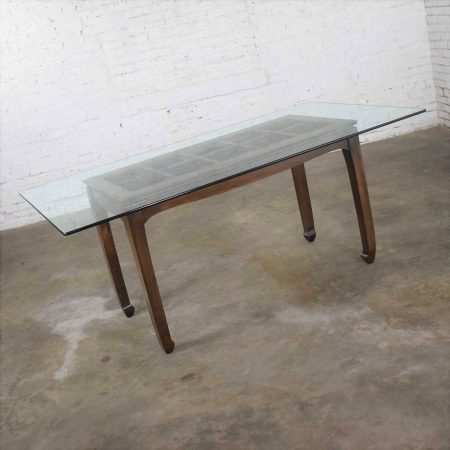 Vintage Chinoiserie Chow Leg Glass Top Dining Table Walnut Color Finish