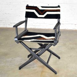 Vintage Needlepoint Director's Chair Folding Black Brown White Geometric