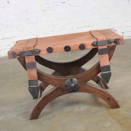 Spanish Revival Curule Foot Stool Ottoman w/ Leather Seat & Straps by Artes De Mexico Internacionales