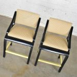 Vintage Modern Black Painted Brass & Upholstered Counter Height Bar Stools, a Pair
