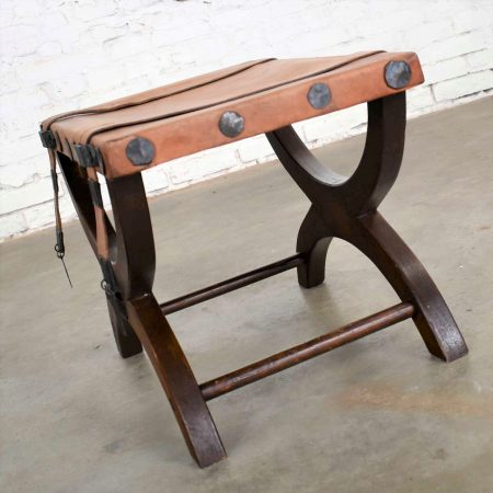 Spanish Revival Curule Foot Stool Ottoman w/ Leather Seat & Straps by Artes De Mexico Internacionales