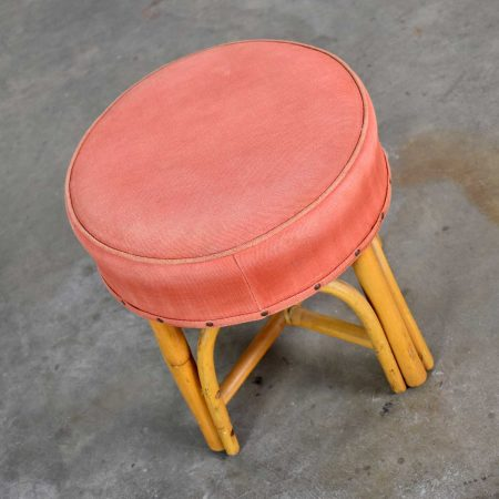 Vintage Round Rattan Low Foot Stool Ottoman or Tuffet with Original Upholstered Top