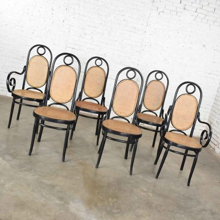 Set of 6 #17 Gebruder Thonet Style Black & Natural Tall Bentwood Chairs by Salvatore Leone