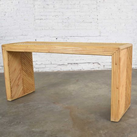 Vintage Reeded Rattan Waterfall Style Console Table or Sofa Table with Chevron Pattern