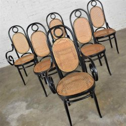 HOLD-Set of 6 #17 Gebruder Thonet Style Black & Natural Tall Bentwood Chairs by Salvatore Leone