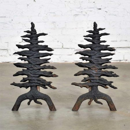 Antique Arts and Craft Pair of Pine Tree Cast Iron Andirons by Martin Industries
