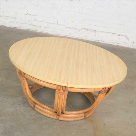 Vintage Round Rattan Drum Shape Coffee or End Table with Laminate Top