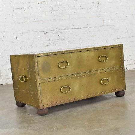Hollywood Regency Campaign Style Brass Clad Two Drawer Chest by Sarreid Ltd. Spain