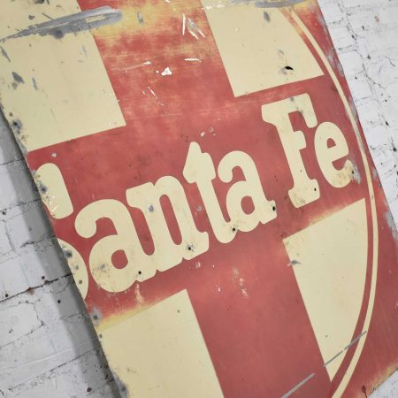 Vintage Primitive Rustic Extra-Large Santa Fe Railroad Red & White Painted Metal Sign