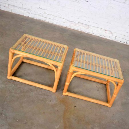 Vintage Modern Pair of Rattan Rectangular Side Tables or End Tables with Glass Top