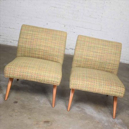 Mid Century Modern Pair of Slipper Chairs in the Style of Jens Risom Overall Chartreuse
