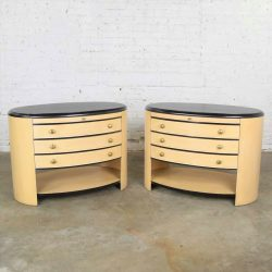 Vintage Modern Pair of Oval Blonde and Black Nightstands or Bedside Cabinets