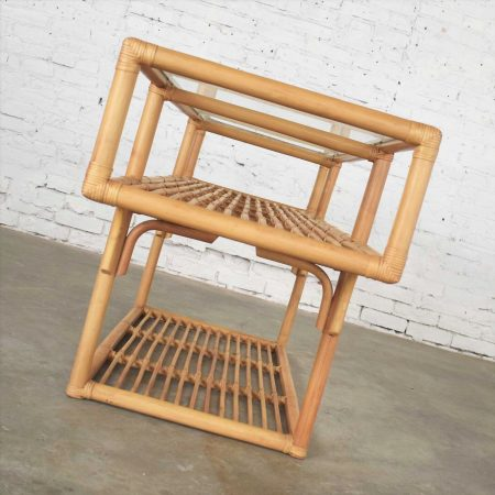 Vintage Modern Three-Tiered Rattan and Glass T-Shaped Console Sofa Table