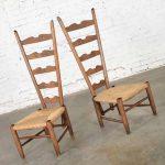 Pair of Vintage Italian Fireside Ladderback Chairs by Gio Ponti for Casa e Giardino