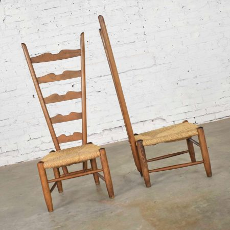 Pair of Vintage Italian Fireside Ladderback Chairs by Gio Ponti for Casa e Giardino