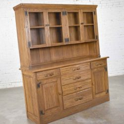 Vintage A. Brandt Ranch Oak Sideboard China Hutch Cabinet Western Rustic