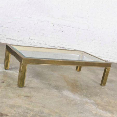 Large Modern Brass & Glass Parsons Style Coffee or Cocktail Table Style Mastercraft