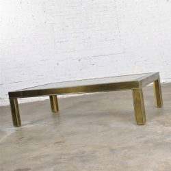HOLD – Large Modern Brass & Glass Parsons Style Coffee or Cocktail Table Style Mastercraft