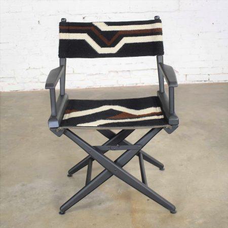 Vintage Needlepoint Director's Chair Folding Black Brown White Geometric