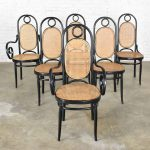 HOLD – Set of 6 #17 Gebruder Thonet Style Black & Natural Tall Bentwood Chairs by Salvatore Leone