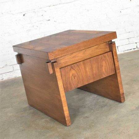 Lane Furniture Modern Brutalist Chunky Oak Parquet Side Table or End Table 1977 Style 1448