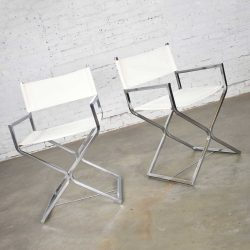 MCM Campaign Style Directors Chairs White & Chrome Attributed Robert Kjer Jakobsen for Virtue Brothers