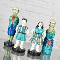 Sylvia Hood Marked Original Vintage Idyllic Family Chalkware Figurines Circa 1960-1965