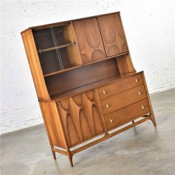 Mid Century Modern Broyhill Brasilia Buffet with Detachable China Hutch Cabinet Walnut