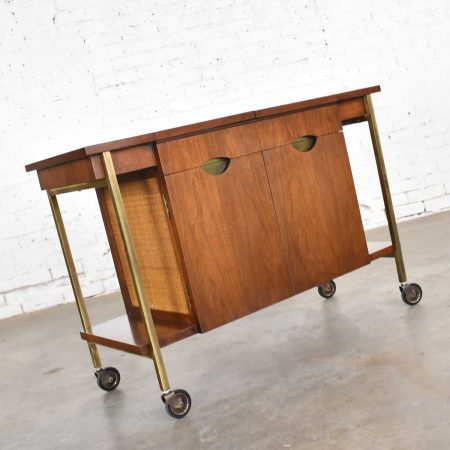 Heritage Vintage Mid Century Modern Walnut & Cane Rolling Bar Cart or Cocktail Cart