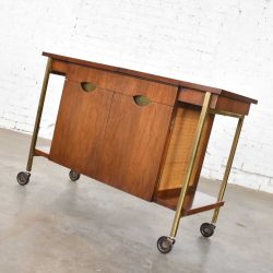 Heritage Vintage Mid Century Modern Walnut & Cane Rolling Bar Cart or Cocktail Cart
