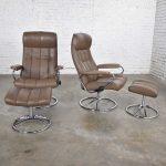 Ekornes Stressless Scandinavian Modern Pair Lounge Chairs & Ottomans Leather Chrome 1971-1994