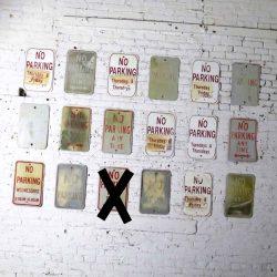 Eighteen Vintage Metal No Parking Signs