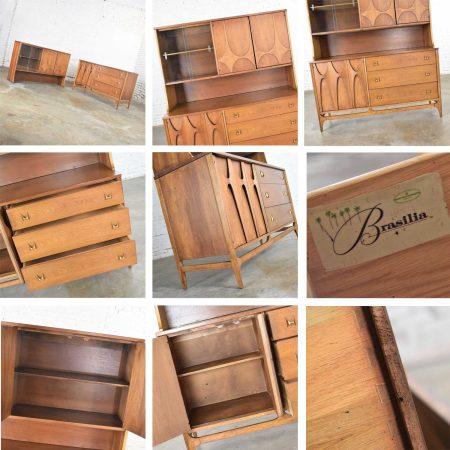 Mid Century Modern Broyhill Brasilia Buffet with Detachable China Hutch Cabinet Walnut