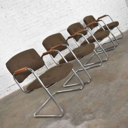 Set 4 Cantilever Armchairs Chrome and Brown w/ Wood Arms Style of Steelcase or Pollack 1970