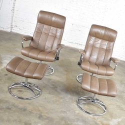 -Ekornes Stressless Scandinavian Modern Pair Lounge Chairs & Ottomans Leather Chrome 1971-1994