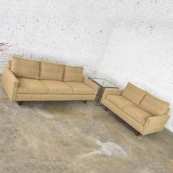 Mid Century Modern Sofa & Love Seat Pair Gold Lawson Style After Harvey Probber 1960