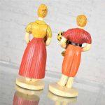 Sylvia Hood Marked Original Vintage Harvest Couple Chalkware Figurines Circa 1960-1965