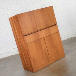 Vintage Scandinavian Modern Teak Drop Front Desk Secretary in a Box 1960-2000