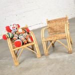 Children's Rattan & Wicker Chairs with Bent Arms Vintage Pair 1930 – 1960
