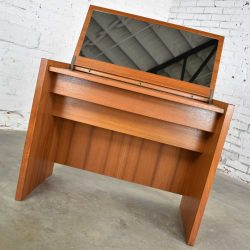 Scandinavian Modern Teak Flip Open Make Up Vanity w/Mirror by Jesper International Denmark 1960-1980
