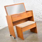 Vintage Scandinavian Modern Teak Flip Open Rolling Make Up Vanity w/ Mirror and Bench