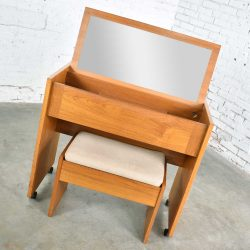 Vintage Scandinavian Modern Teak Flip Open Rolling Make Up Vanity w/ Mirror and Bench