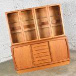 Scandinavian Modern 2-Piece Teak Buffet with China Hutch Display Cabinet Attr Dyrlund