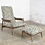 MCM Scandinavian Modern Style High Back Lounge Chair & Ottoman Attributed to Home Chair Company 1950-1960
