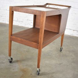 MCM Arthur Umanoff for Cavalier Dimension Group Rolling Server Bar Cart Walnut 1960s