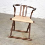 Thonet Style Bentwood Walnut Tone Folding Chair w/ Canvas Sling Seat Made in Romania