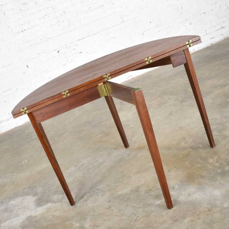 Mid Century Modern Walnut Round Flip Top or Folding Dining Table to Demilune Table 1960