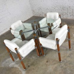 Modern Game Table or Dining Table Glass Chrome Oak with Four White Rolling Chairs