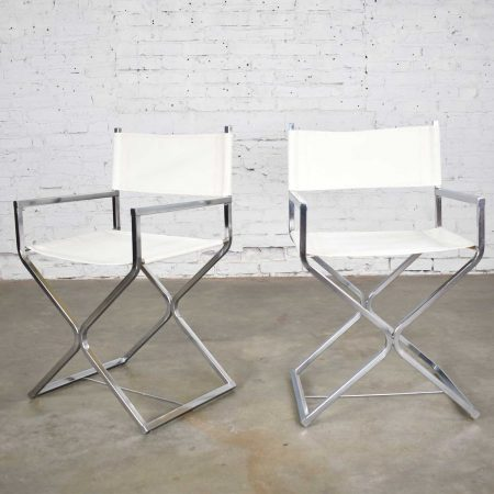 MCM Campaign Style Directors Chairs White & Chrome Attributed Daystrom Style of Milo Baughman